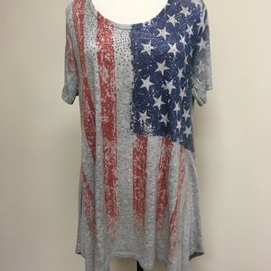 Vocal Plus Size American Flag Tunic w/Rhinestones